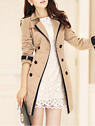 cheap -Women's Daily Spring / Fall Long Trench Coat, Solid Colored Notch Lapel Long Sleeve Polyester Classic Style Black / Khaki