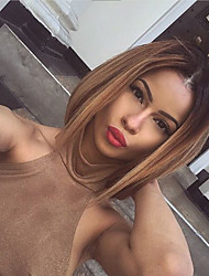 cheap -Unprocessed Human Hair Lace Front Wig Bob Short Bob style Brazilian Hair Straight Blonde Wig 130% Density with Baby Hair Ombre Hair Dark Roots Women's Short Medium Length Long Human Hair Lace Wig