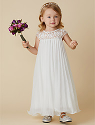 cheap -Sheath / Column Knee Length Wedding / First Communion / Holiday Flower Girl Dresses - Chiffon Short Sleeve Jewel Neck with Beading / Draping