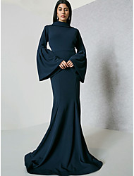 cheap -Women's Plus Size Party / Going out Street chic / Sophisticated Flare Sleeve Maxi Slim Bodycon / Sheath / Trumpet / Mermaid Dress - Solid Colored Ruffle High Waist Spring Navy Blue XL XXL XXXL / Sexy