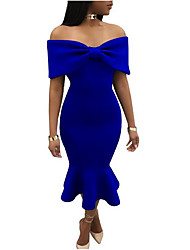 cheap -Women's Off Shoulder Red Royal Blue Dress Summer Cocktail Party Bodycon Solid Colored Strapless S M Slim / Ruffle