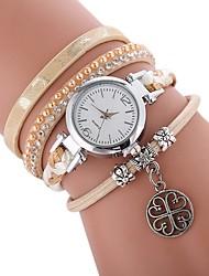 cheap -Women's Bracelet Watch Wrap Bracelet Watch Quartz Quilted PU Leather Black / White / Blue Casual Watch Imitation Diamond Analog Ladies Casual Bohemian - White Black Red One Year Battery Life