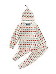 cheap -Toddler Boys' Active Daily Holiday Striped Geometric Print Long Sleeve Regular Regular Cotton Clothing Set White