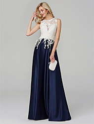 cheap -A-Line Illusion Neck Floor Length Lace Floral / Elegant / Color Block Prom / Formal Evening Dress 2020 with Appliques