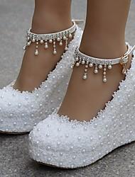 cheap -Women's Heels Wedge Heel Lace / PU Comfort Spring / Fall White / Pink / EU41