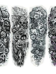 Недорогие -4 pcs Временные тату Временные татуировки Мультипликационные серии Искусство тела Лицо / Корпус / руки