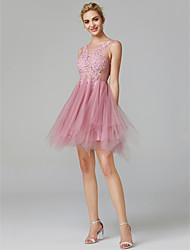 cheap -A-Line Illusion Neck Short / Mini Lace Over Tulle Sexy / Pink Cocktail Party / Homecoming Dress with Appliques 2020
