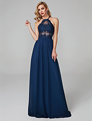 cheap -Sheath / Column Halter Neck Floor Length Chiffon / Tulle Elegant & Luxurious / Beautiful Back / See Through Prom / Formal Evening Dress 2020 with Beading / Appliques