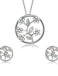 cheap -Women's Cubic Zirconia Jewelry Set Stud Earrings Pendant Necklace Floral / Botanicals Leaf Flower Ladies Zircon Silver Plated Earrings Jewelry Silver For Wedding Evening Party