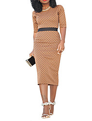 cheap -Women's Polka Dot Red Brown Dress Basic Street chic Spring Daily Weekend Bodycon Polka Dot Strap S M Slim High Waist / Cotton