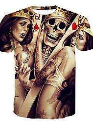 cheap -Men's Daily Weekend Skull / Basic Plus Size T-shirt - Skull Print Round Neck Brown / Short Sleeve / Summer