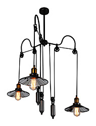 cheap -3-Light 90 cm Mini Style / Adjustable / Extended Chandelier Metal Cluster Painted Finishes Artistic / Retro 110-120V / 220-240V