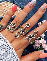 cheap -Women's Ring Set Midi Rings Pinky Ring 4pcs Silver Alloy Ladies Basic Fashion Daily Date Jewelry Leaf Flower