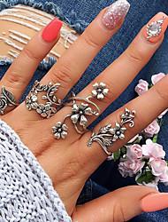 cheap -Ring Set Silver Alloy Leaf Flower Ladies Basic Fashion 4pcs 7