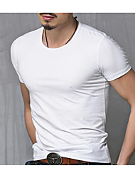 cheap -Men's T shirt Graphic Solid Colored Plus Size Short Sleeve Daily Tops Cotton Active White Black