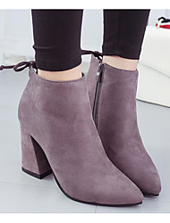 cheap -Women's Boots Chunky Heel Nubuck leather Booties / Ankle Boots Comfort / Fashion Boots Fall / Winter Black / Gray / Camel
