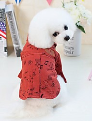 cheap -Dogs Cats Pets Shirt / T-Shirt Dog Clothes Red Coffee Costume Dalmatian Beagle Pug Cotton / Polyester Patterned Cartoon Japan and Korea Style Euramerican S M L XL XXL