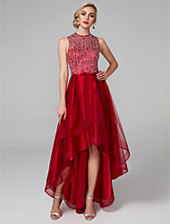 cheap -A-Line Jewel Neck Asymmetrical Satin / Tulle Sparkle & Shine / High Low / Keyhole Cocktail Party / Prom Dress with Sequin / Bow(s) 2020