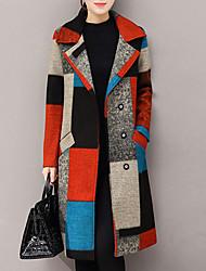 abordables -Femme Sortie Chic de Rue Automne / Hiver Longue Manteau Col de Chemise Manches Longues Cachemire / Polyester Imprimé Rouge