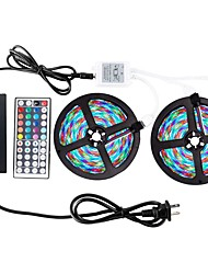 cheap -ZDM® 2x5M RGB Strip Lights 600 LEDs 2835 SMD 8mm 1 44Keys Remote Controller / 1 AC Cable / 1 x 12V 3A Adapter RGB Waterproof / Cuttable / Decorative 12 V 1 set