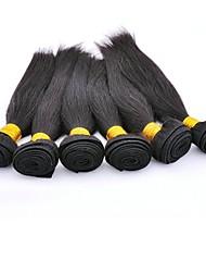 cheap -6 Bundles Peruvian Hair Straight Virgin Human Hair Headpiece Natural Color Hair Weaves / Hair Bulk Hair Care Natural Color Human Hair Weaves Waterfall Silky Hot Sale Human Hair Extensions / 10A