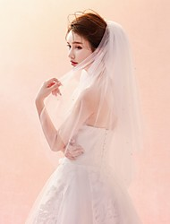 cheap -Two-tier Cut Edge / Veil Wedding Veil Elbow Veils with Pattern Tulle / Classic