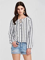 cheap -Women's Daily Lantern Sleeve Loose Shirt - Geometric Print Black / Spring / Fall