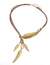cheap -Pendant Necklace Leaf Ladies Simple Fashion Leather Alloy Gold 55 cm Necklace Jewelry For Daily