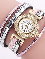 cheap -Women's Necklace Watch Diamond Watch Wrap Bracelet Watch Wrap Quilted PU Leather Black / Gold / Pink Chronograph Creative Analog Ladies Fashion - Blue White / Pink Black / Silver One Year Battery Life