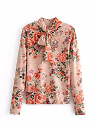 cheap -Women's Puff Sleeve Cotton Shirt - Floral Lace