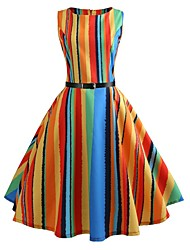 cheap -Women's Vintage 1950s A Line Dress - Striped Rainbow Print Summer Rainbow L XL XXL