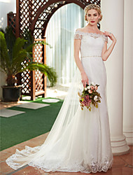 cheap -A-Line Off Shoulder Court Train Lace / Tulle Cap Sleeve Made-To-Measure Wedding Dresses with Beading / Pearl 2020 / Illusion Sleeve / Royal Style