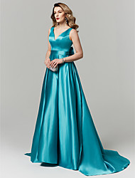 cheap -A-Line V Neck Court Train Satin Elegant Prom / Formal Evening Dress with Bow(s) 2020