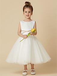 cheap -Princess Tea Length Flower Girl Dresses Wedding Satin Sleeveless Jewel Neck with Sash / Ribbon / First Communion