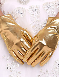 cheap -Faux Leather Wrist Length Glove Bridal Gloves With Faux Pearl