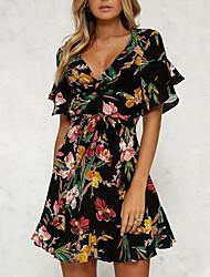 cheap -Women's Floral Daily Flare Sleeve Slim Sheath Dress - Floral Black, Print High Waist V Neck Summer Black L XL XXL / Sexy