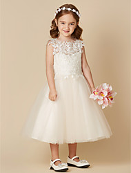 cheap -A-Line Tea Length Flower Girl Dress - Lace / Tulle Sleeveless Jewel Neck with Lace / First Communion