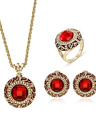 cheap -Women's Cubic Zirconia Jewelry Set Stud Earrings Pendant Necklace Ladies Vintage Fashion Zircon Gold Plated Earrings Jewelry Red For Wedding Evening Party / Ring