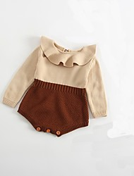cheap -Baby Color Block Long Sleeve Romper White