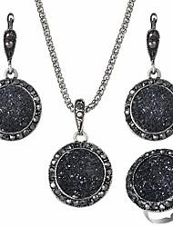cheap -Women's Black AAA Cubic Zirconia Jewelry Set Ladies Simple energy Earrings Jewelry Black For Club Festival