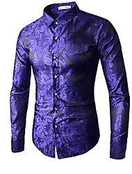 cheap -Men's Daily Luxury / Chinoiserie Plus Size Shirt - Floral Blue / Long Sleeve