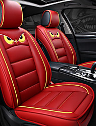 cheap -5seats Red Cartoon Four Seasons GM Car Seat Full Cover for five-seat car/PU Leather and Ice Silk Cloth Art/Airbag compatibility/Adjustable and Removable/Family car/SUV