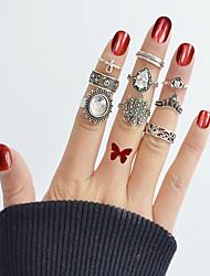 cheap -Ring Set Silver Alloy Drop Flower Ladies Basic Fashion 9pcs 7