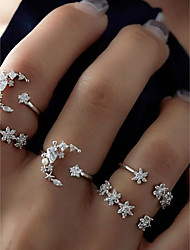 cheap -Ring Set Cluster Silver Alloy Moon Star Ladies Unusual Unique Design 5pcs 7