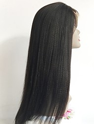 cheap -Unprocessed Human Hair Full Lace Wig Layered Haircut Kardashian style Indian Hair Straight Black Wig 130% Density with Baby Hair African American Wig For Black Women Women's Short Medium Length Long