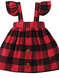 cheap -Baby Girls' Daily Print Sleeveless Regular Regular Dress Red / Cute / Toddler