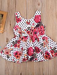 cheap -Toddler Girls' Active Boho Party School Polka Dot Floral Ruffle Sleeveless Dress Fuchsia