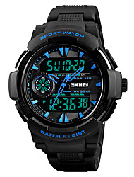 Недорогие -SKMEI Муж. Спортивные часы электронные часы Японский Цифровой Стеганная ПУ кожа Черный 50 m Защита от влаги Будильник Секундомер Аналого-цифровые На каждый день Мода -  / Один год / Хронометр