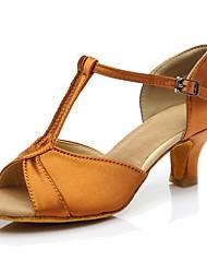 cheap -Women's Dance Shoes Silk Latin Shoes Heel Customized Heel Customizable Dark Brown / Indoor / Practice