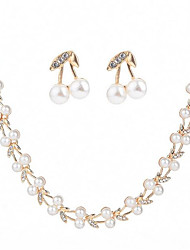 cheap -Women's Pearl Jewelry Set Stud Earrings Chain Necklace Leaf Ladies Fashion Imitation Pearl Zircon Earrings Jewelry White For Wedding Evening Party